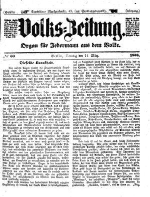 Volks-Zeitung vom 14.03.1858