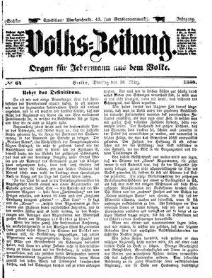 Volks-Zeitung vom 16.03.1858