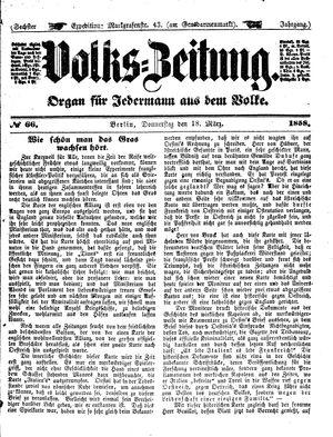 Volks-Zeitung vom 18.03.1858