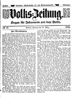 Volks-Zeitung vom 23.03.1858