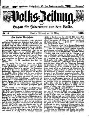 Volks-Zeitung vom 24.03.1858