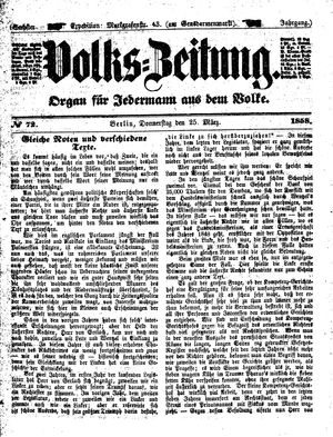 Volks-Zeitung vom 25.03.1858