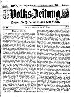 Volks-Zeitung vom 27.03.1858