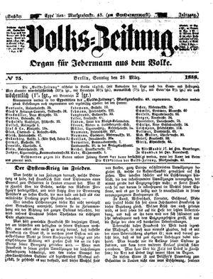Volks-Zeitung vom 28.03.1858