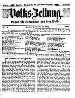 Volks-Zeitung vom 30.03.1858