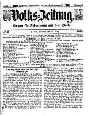 Volks-Zeitung vom 31.03.1858
