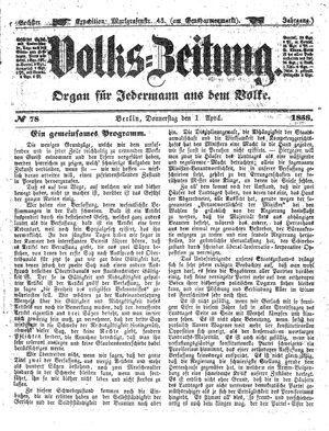 Volks-Zeitung vom 01.04.1858