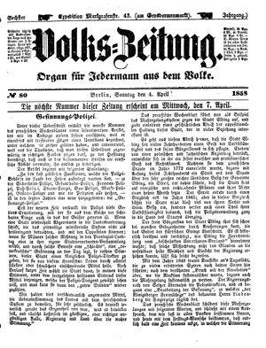Volks-Zeitung vom 04.04.1858