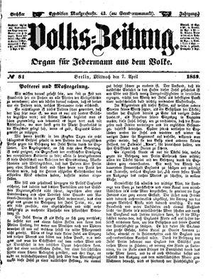 Volks-Zeitung vom 07.04.1858