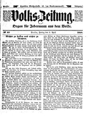Volks-Zeitung vom 09.04.1858