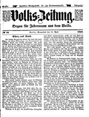 Volks-Zeitung vom 10.04.1858