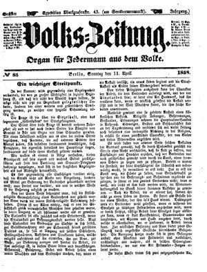Volks-Zeitung vom 11.04.1858