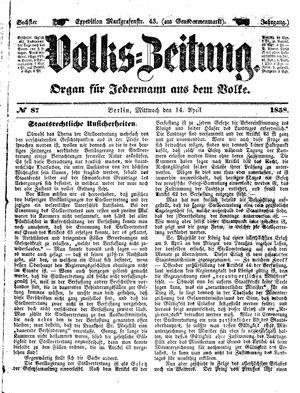 Volks-Zeitung vom 14.04.1858