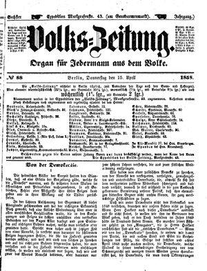 Volks-Zeitung vom 15.04.1858