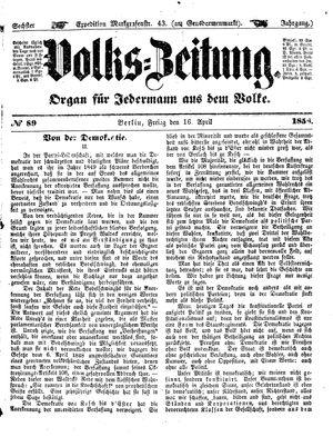 Volks-Zeitung vom 16.04.1858