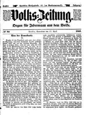 Volks-Zeitung vom 17.04.1858