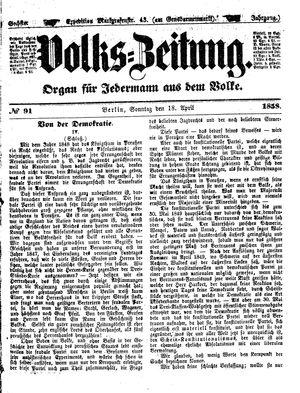 Volks-Zeitung vom 18.04.1858