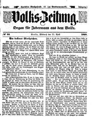 Volks-Zeitung vom 21.04.1858