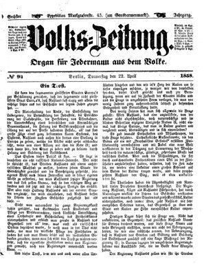 Volks-Zeitung on Apr 22, 1858