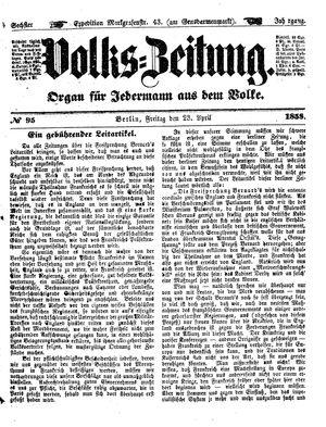 Volks-Zeitung vom 23.04.1858