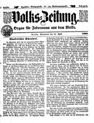 Volks-Zeitung vom 24.04.1858