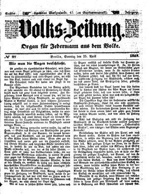 Volks-Zeitung vom 25.04.1858