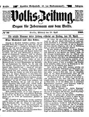 Volks-Zeitung vom 28.04.1858