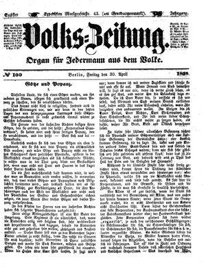 Volks-Zeitung vom 30.04.1858