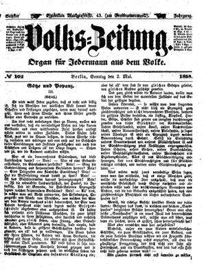 Volks-Zeitung vom 02.05.1858
