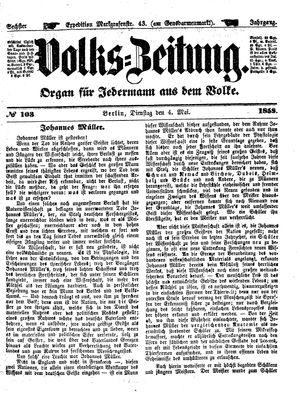 Volks-Zeitung vom 04.05.1858