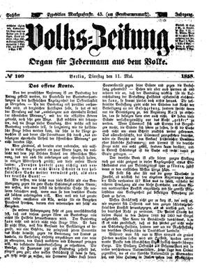Volks-Zeitung vom 11.05.1858