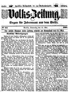 Volks-Zeitung vom 13.05.1858
