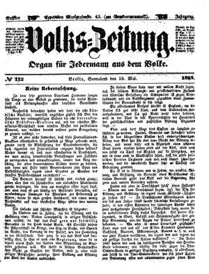 Volks-Zeitung vom 15.05.1858