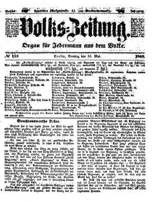 Volks-Zeitung vom 16.05.1858