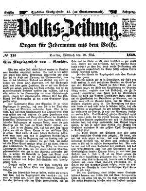 Volks-Zeitung vom 19.05.1858