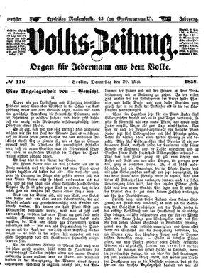 Volks-Zeitung vom 20.05.1858