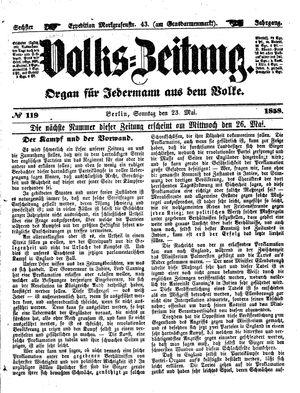 Volks-Zeitung on May 23, 1858