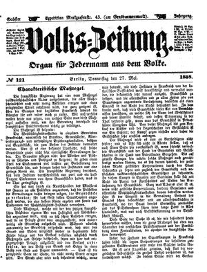 Volks-Zeitung on May 27, 1858
