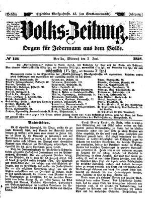 Volks-Zeitung vom 02.06.1858