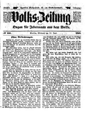 Volks-Zeitung vom 16.06.1858