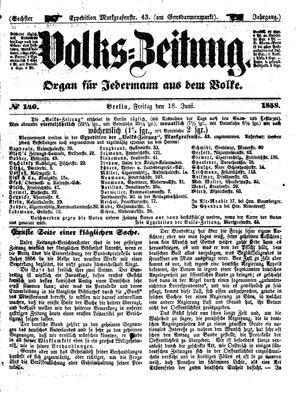 Volks-Zeitung vom 18.06.1858