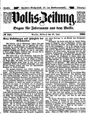 Volks-Zeitung vom 23.06.1858
