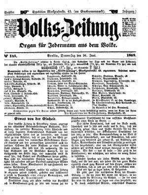 Volks-Zeitung vom 24.06.1858