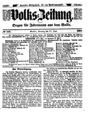 Volks-Zeitung vom 27.06.1858