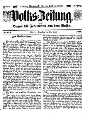 Volks-Zeitung vom 29.06.1858