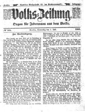 Volks-Zeitung vom 01.07.1858