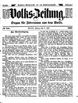 Volks-Zeitung vom 02.07.1858