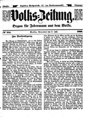 Volks-Zeitung vom 03.07.1858
