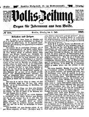 Volks-Zeitung vom 06.07.1858