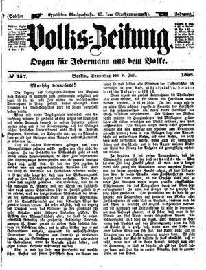Volks-Zeitung vom 08.07.1858